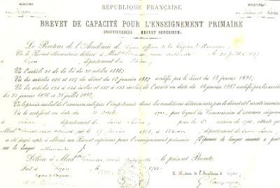 Brevet Supérieur, 1900 (collection musée)