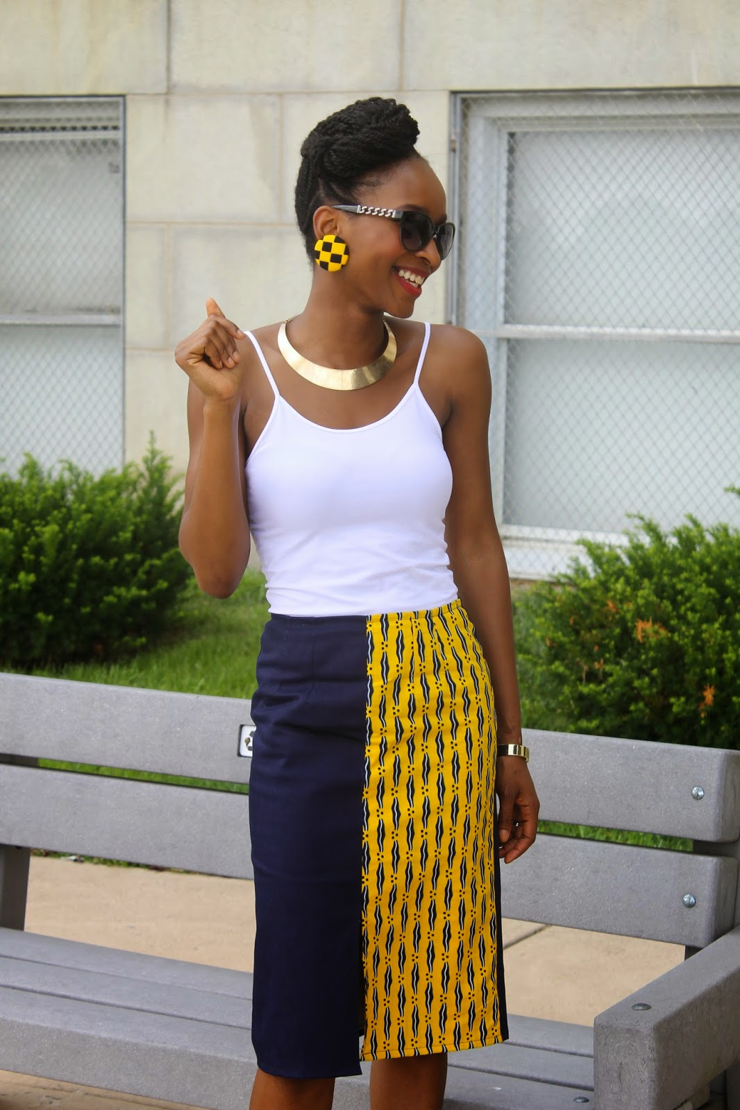 My Style Oasis, Denim and Ankara Pencil Skirt