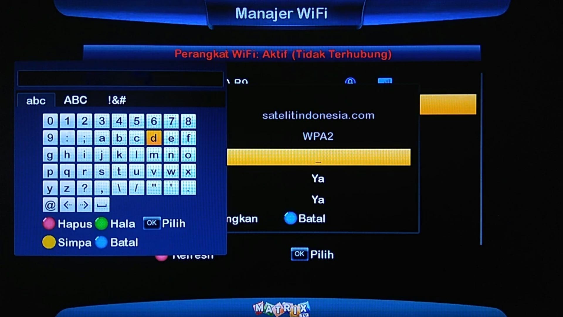 Cara Setting Wifi Matrix Big Burger HD 8MB