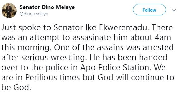 What Dino Melaye Has To Say About The Assassination Attempt On Ekweremadu In Abuja