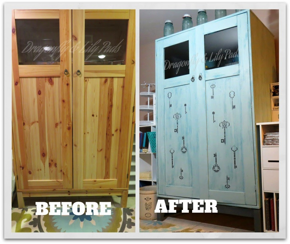 Before of Ikea Computer Cabinet, After of Craft Cabinet, #AHeapOfChangeChallenge, DecoArt Sponsored Post.