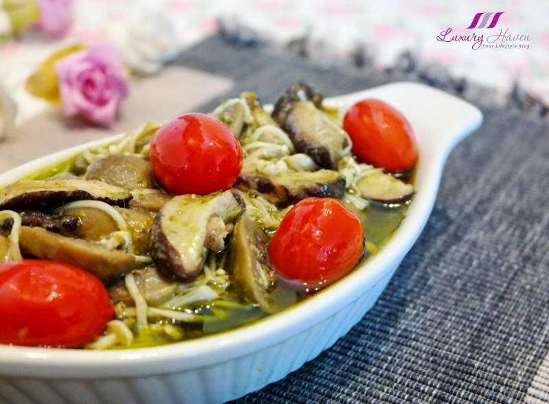 appetizing baked lemon pesto mushrooms casserole recipe