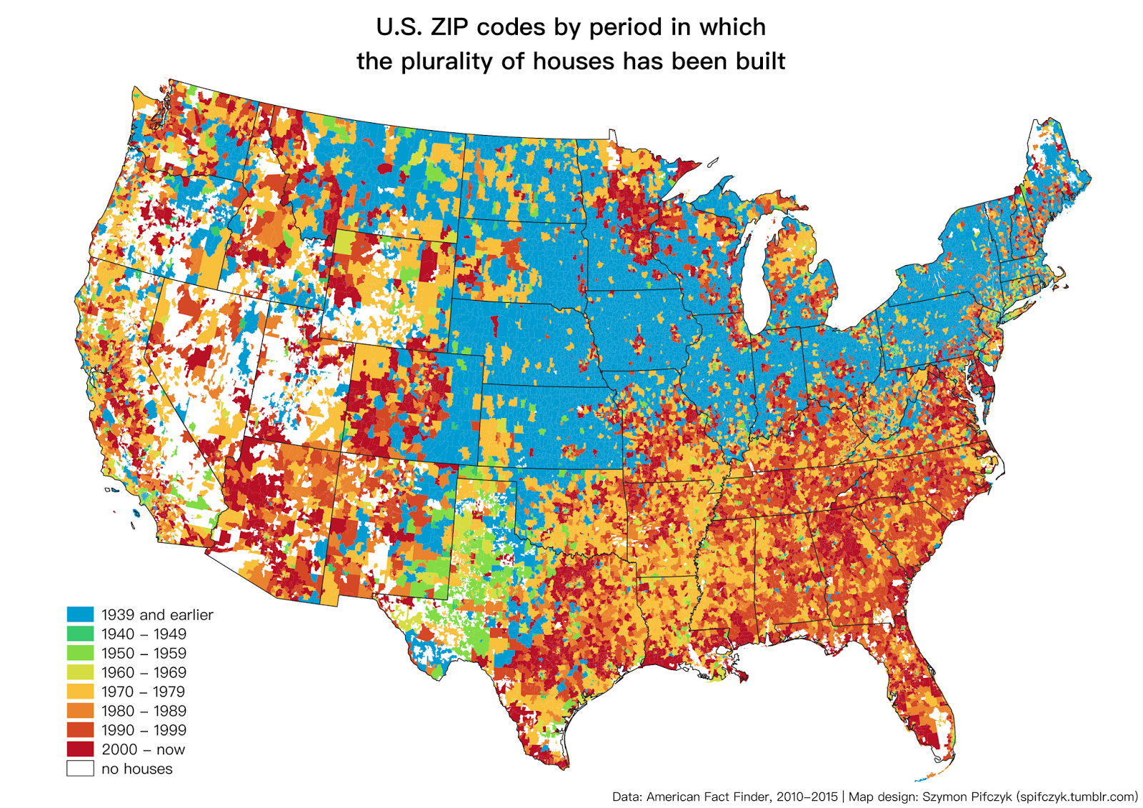 What Period Of Time Plurality Of Houses Were Built In The US By - Us zip code code