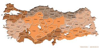Kahverengi renkte İller ve Bölgeler Haritası