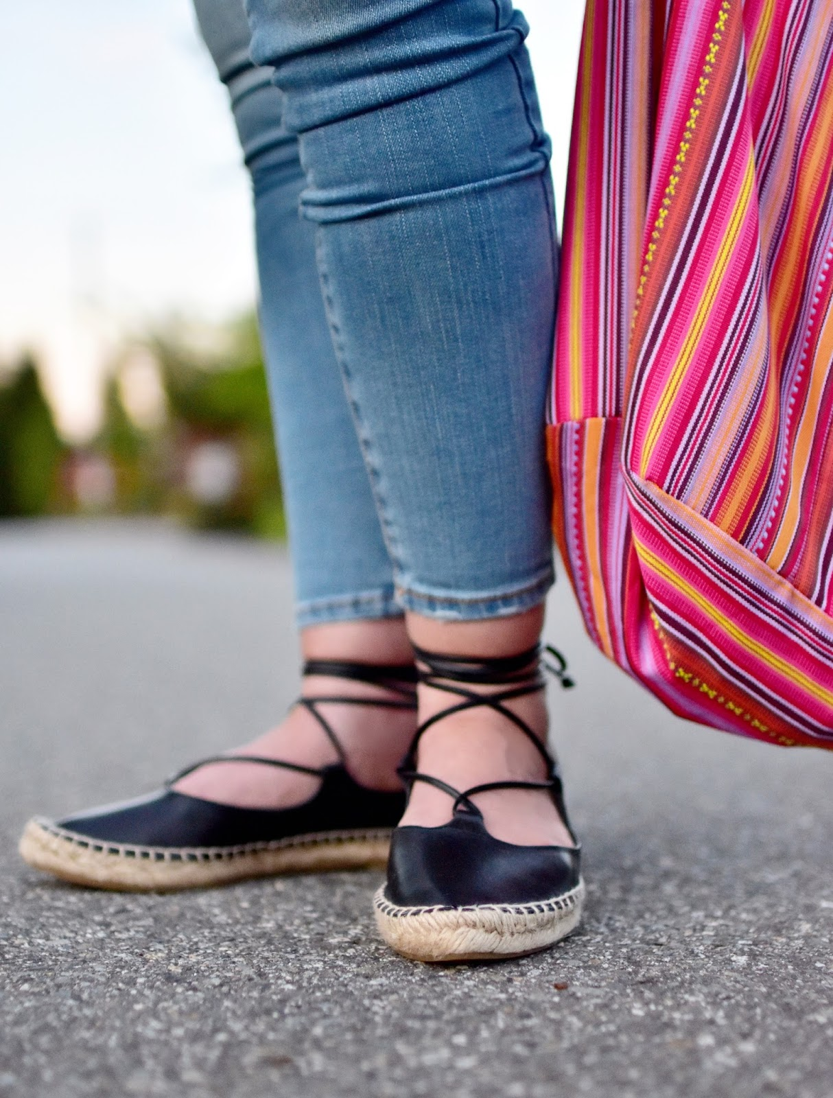 skinny jeans, Zara espadrilles, striped hobo bag