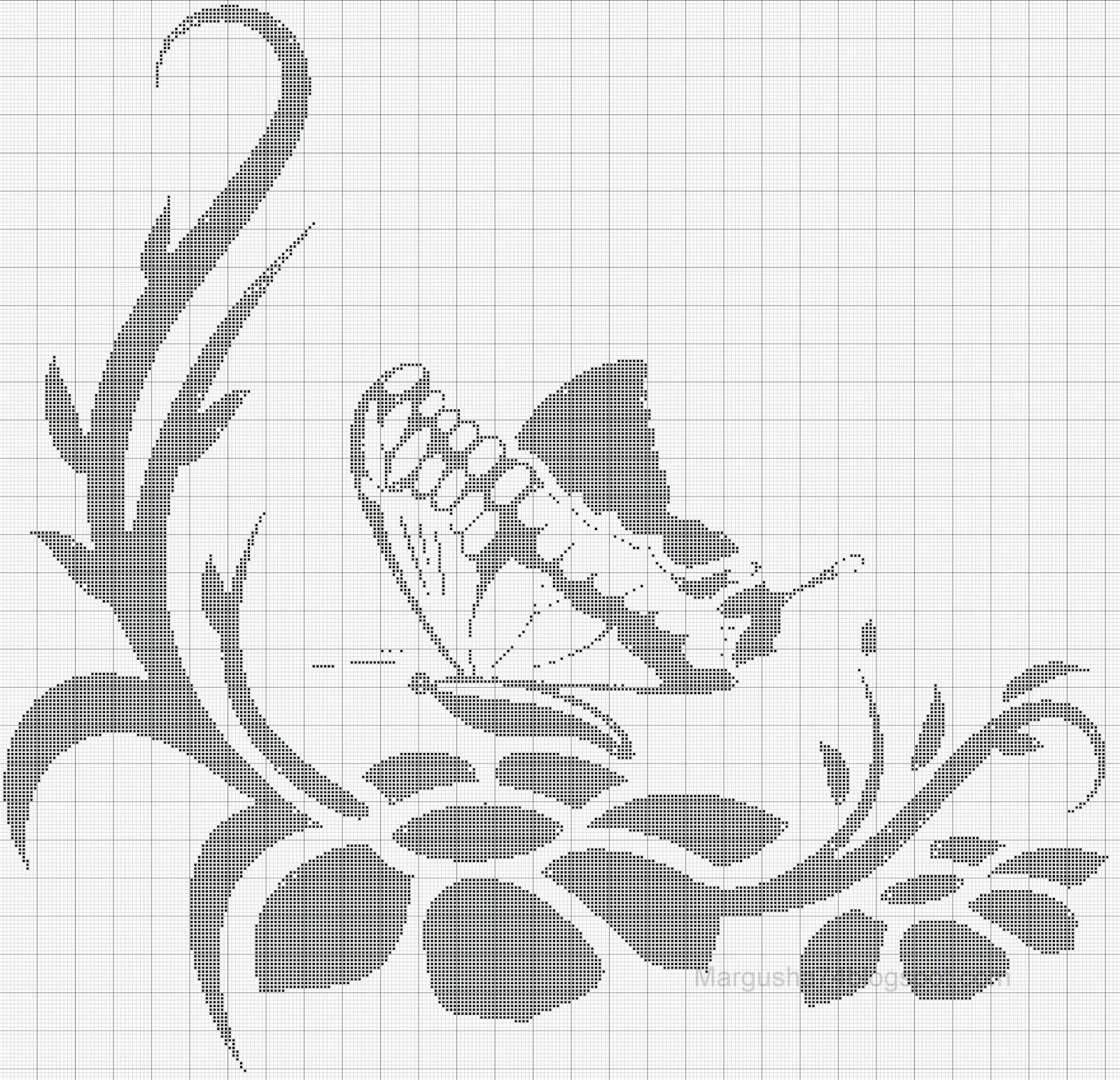 схема вышивки цветы монохром