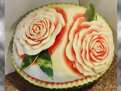 roses watermelon fruit arts carving