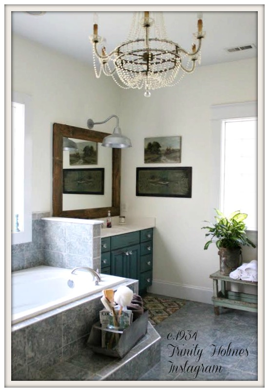 Farmhouse Bathroom-From My Front Porch To Yours-How I Found My Style Sundays- c.1934 Trinity Holmes Instagram