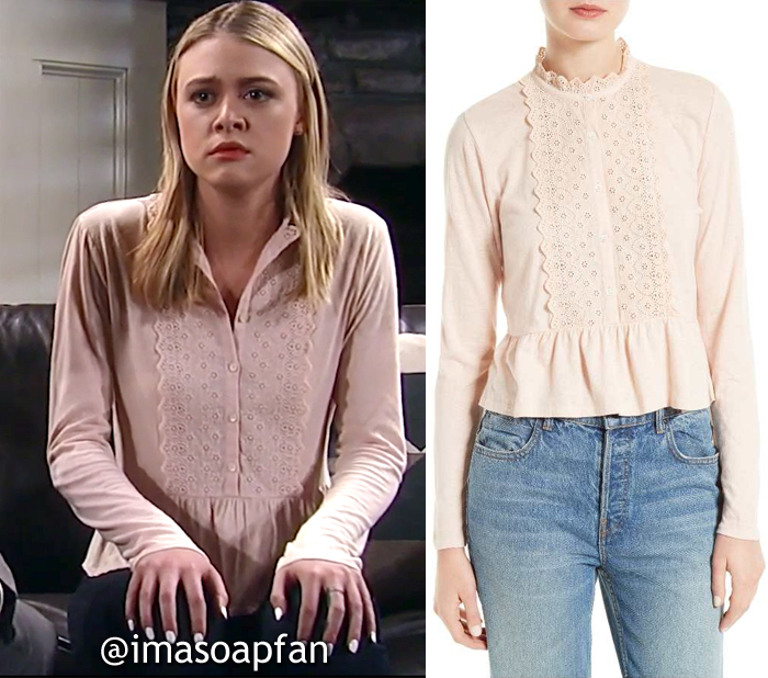 Kiki Jerome, Hayley Erin, Light Pink Eyelet Lace Peplum Top, La Vie Rebecca Taylor,General Hospital, GH