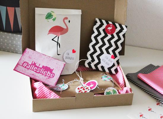 binedoro Blog, DIY, Verpackung, Verpackungsliebe, Flamingo, miomodo, Kreativteam, #miomodokreativteam