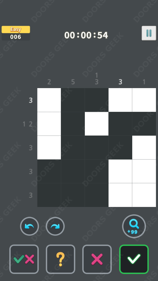 Nonogram King Easy Level 6 Solution, Cheats, Walkthrough for Android, iPhone, iPad and iPod