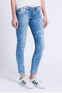 Pepe Jeans - Jeansi dama de firma albastri prespalati