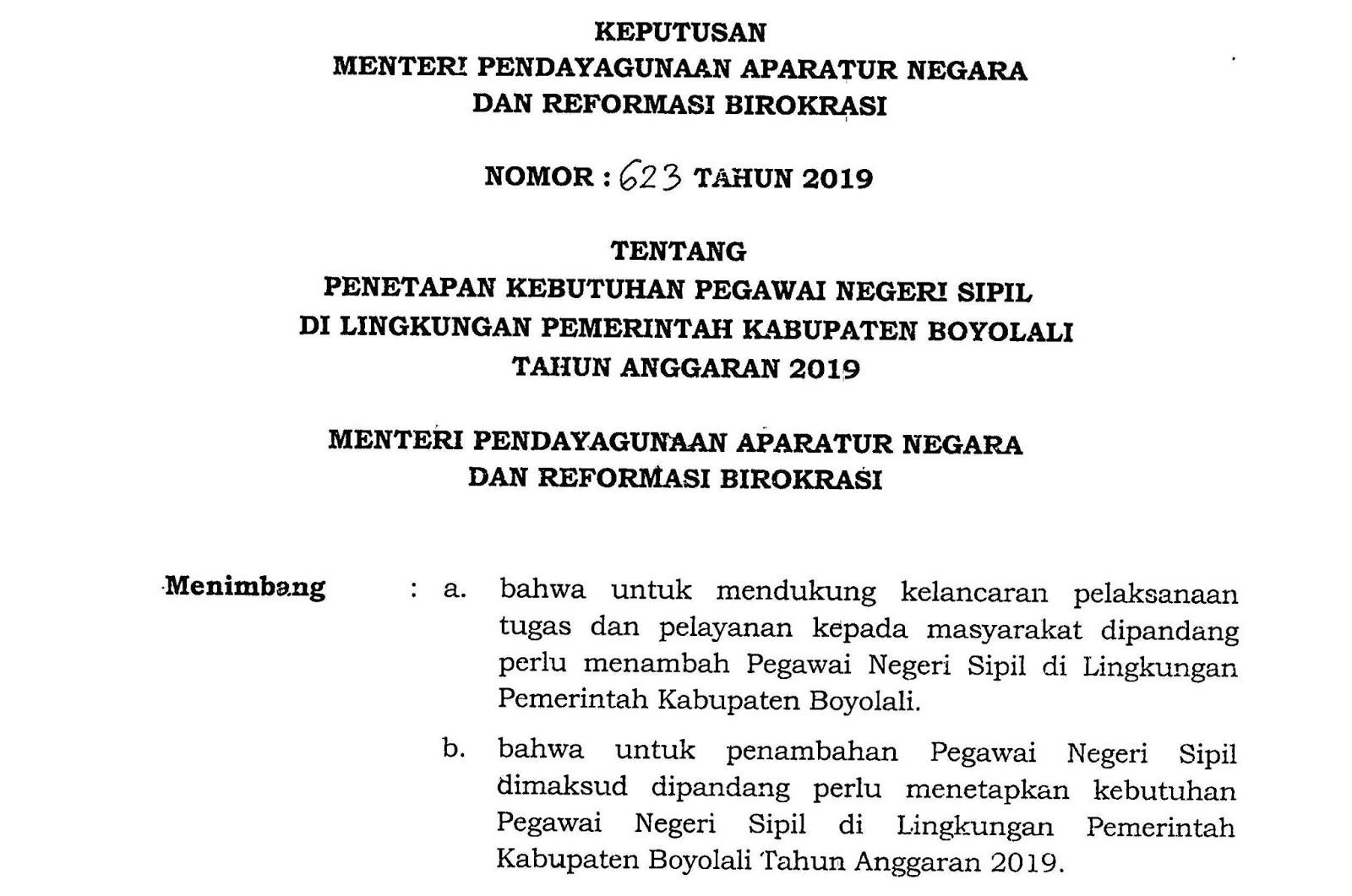 Download Formasi CPNS Kabupaten Boyolali Provinsi Jawa Tengah Tahun 2019