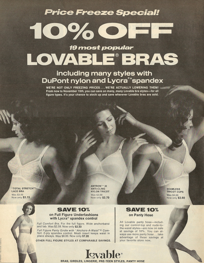 1eb04b1ae06 10% off 19 most popular Lovable bras including many styles with DuPont  nylon and Lycra spandex. We re not only freezing prices... we re actually  lowering ...