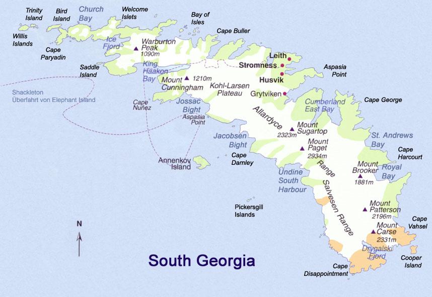 Mapas das Ilhas Georgia e Sandwich | Reino Unido