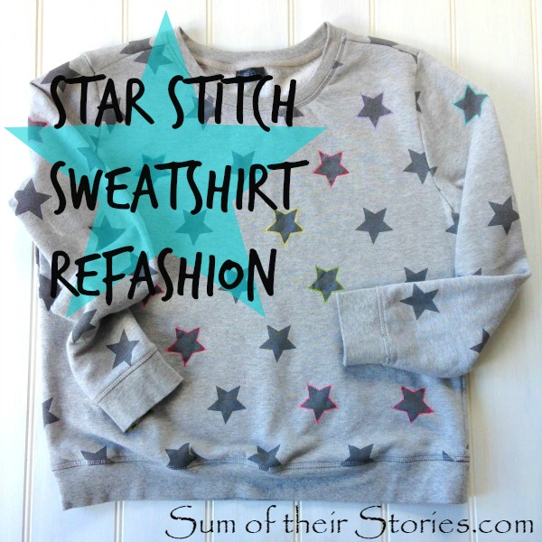 Star Stitch Sweatshirt Refashion