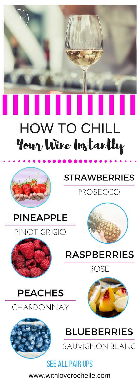 Simply ideas on which fruits to pair with your wine to keep it chilled. Add in these frozen or chilled fruits to enjoy the perfect glass of wine.