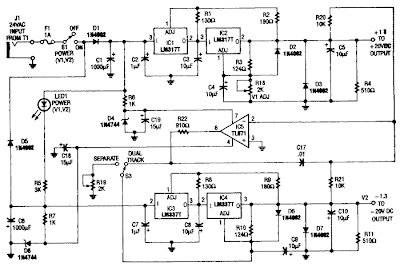 Tracking Dual Output Bipolar Supply Circuit Diagram