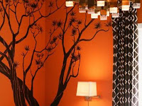 orange color living room designs