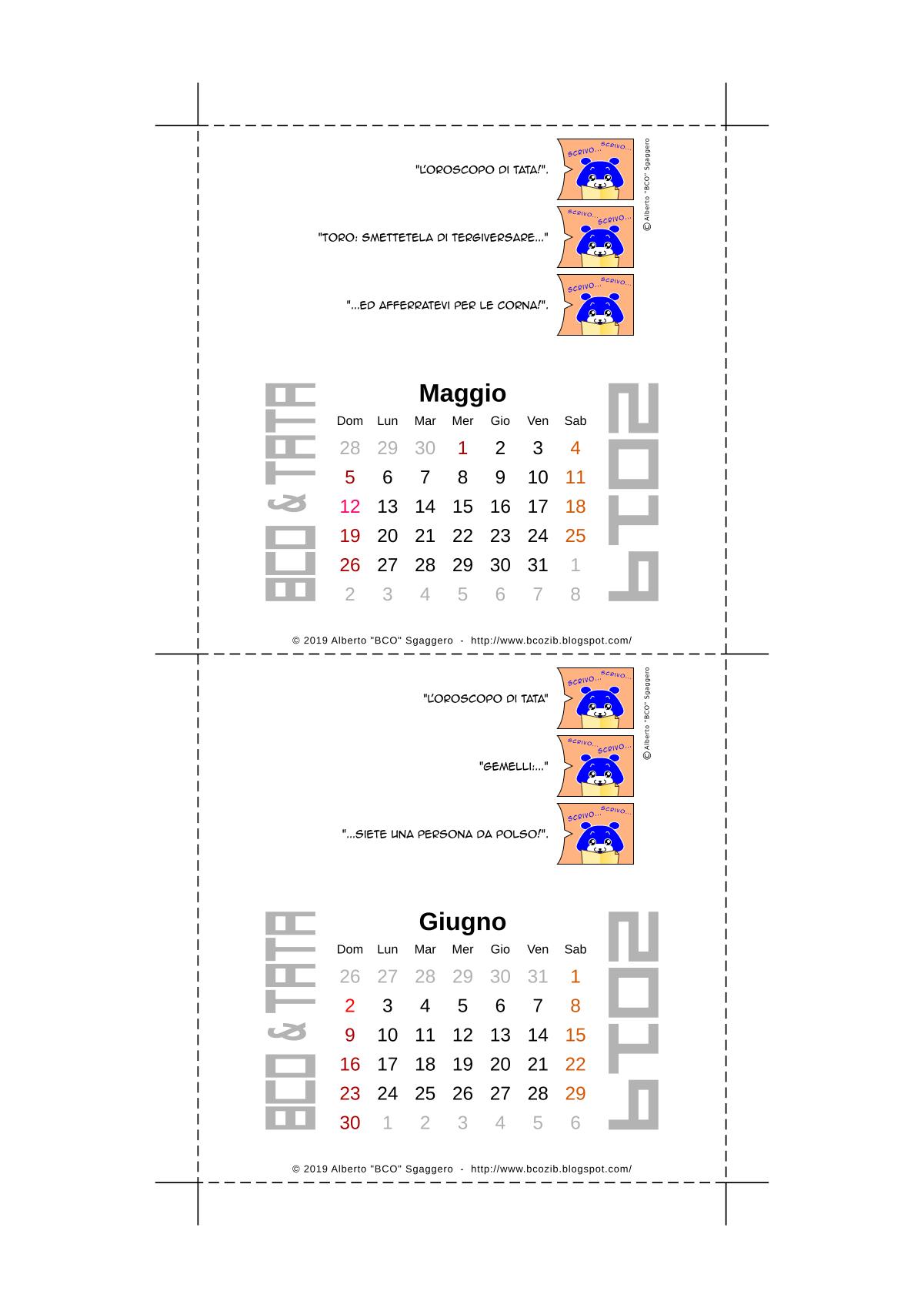 Il calendario 2019 di BCO e TATA - Maggio e Giugno