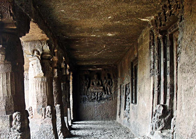 carved corridor of the Aurangabad caves