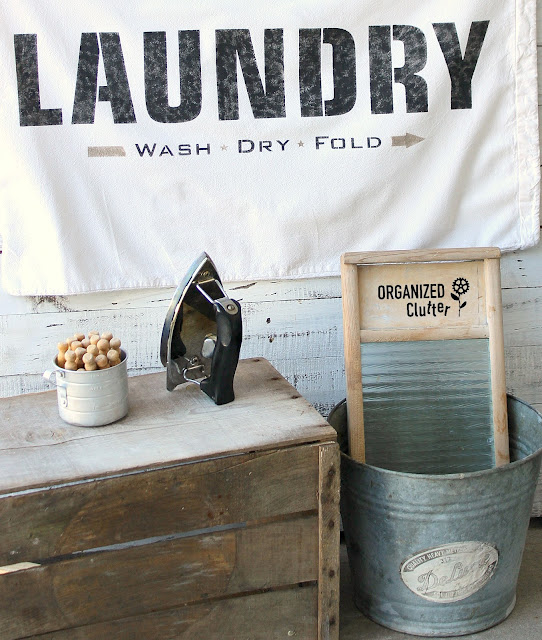 Thrift Shop Laundry Bag Becomes Laundry Room Decor With Stencils #oldsignstencils #fusionmineralpaint #laundrysign #laundryroom #laundryroomdecor #stencil #thriftshopmakeover