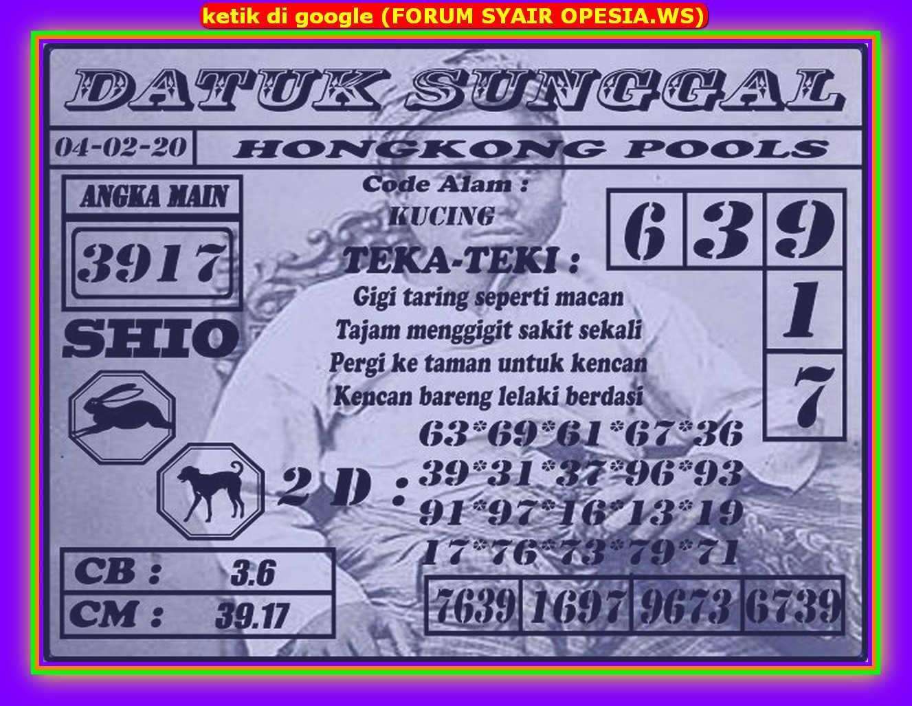 Kode syair Hongkong Selasa 4 Februari 2020 157