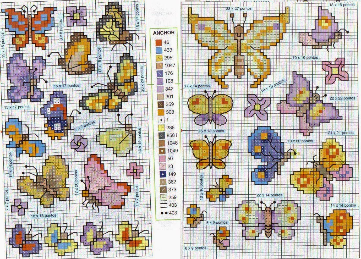 Hobby lavori femminili ricamo uncinetto maglia for Farfalle a punto croce