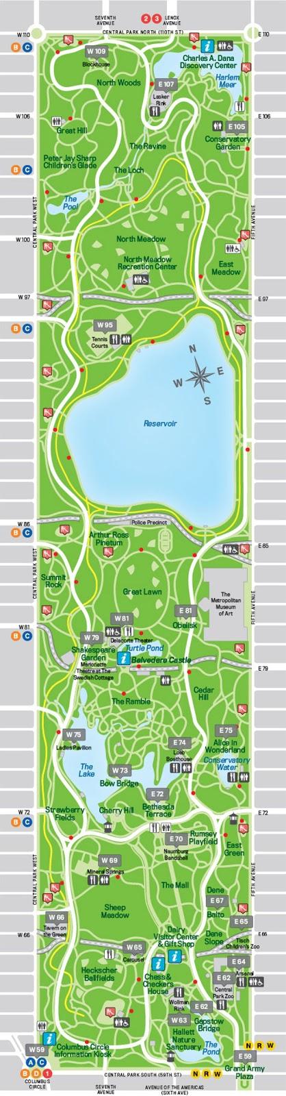 Guia de Central Park mapa
