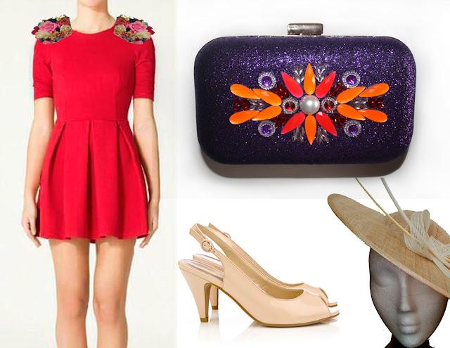 como combinar un vestido rojo para una boda, complementos y bolso fiesta