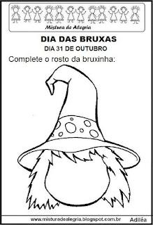 Dia das bruxas-bruxinha para colorir