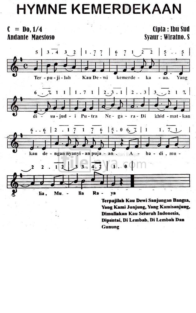 Hymne Kemerdekaan Not Angka,Not Balok,Lirik,Chord