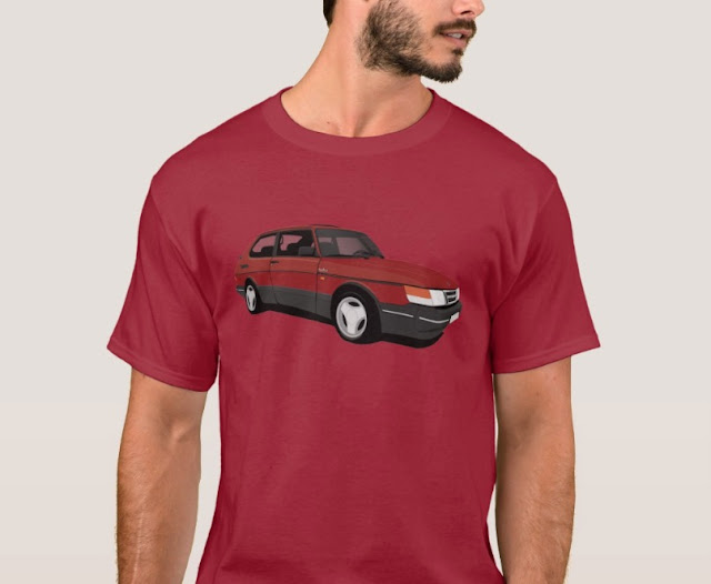 Saab 900 Turbo 16  Aero t-shirts red