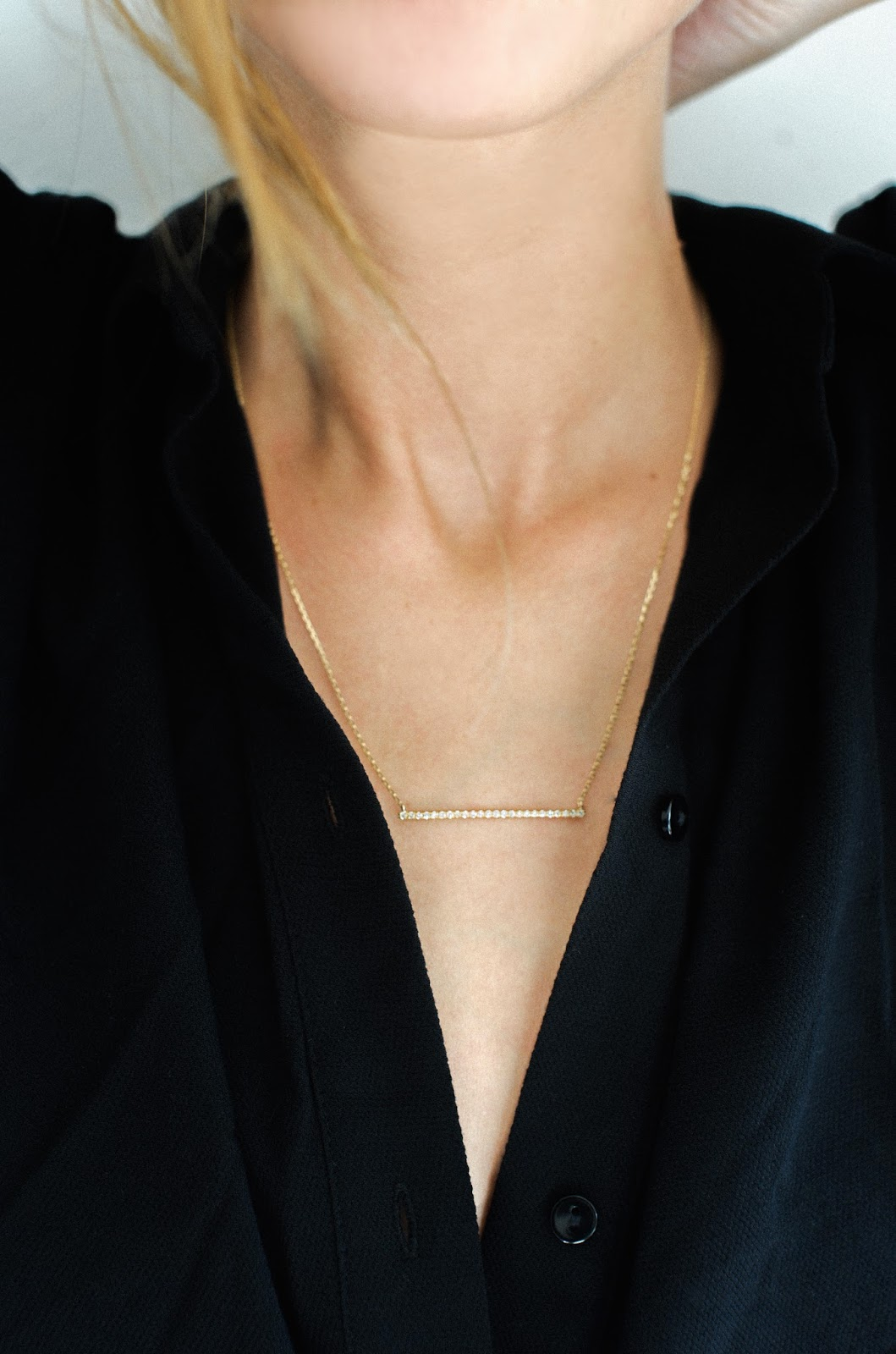 A Glimpse of Glam: AUrate New York Gold Bar Necklace - Andrea Tiffany
