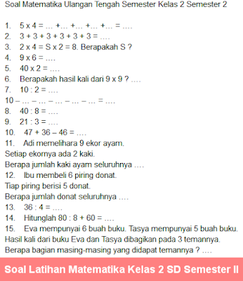 Contoh Soal Latihan Matematika Kelas 2 SD