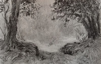 Pencil drawing of Coorg landscape in sketch book