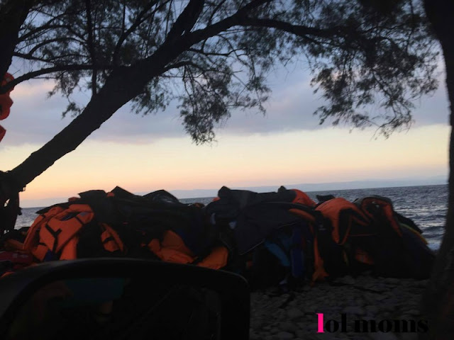 Refugees life jackets in Lesvos island
