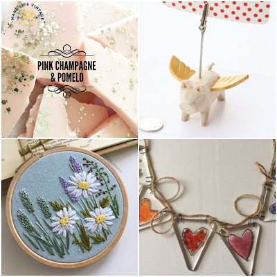 1: slabs of pale pink wax with gold glitter in them. 2: a small wooden pink with wings and a peg fitted to its back for holding photos. 3: a wooden embroidery hoop with blue fabric embroidered with lavender and daisies. 4: glass triangles each with different coloured hearts in them strung together with brown string