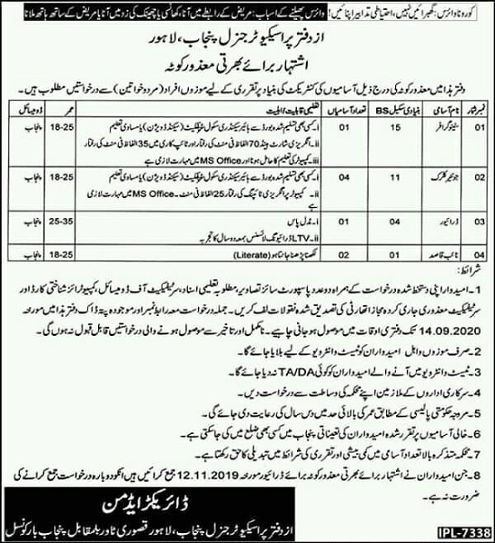 office-of-prosecutor-general-punjab-lahore-jobs-2020