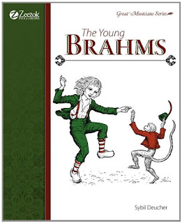 The cover of The Young Brahms, which shows him dancing with a monkey.