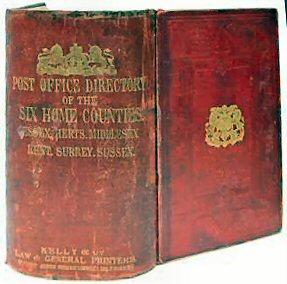 Photograph of The Post Office directory of the six home counties, including Hertfordshire, edited by E. R. Kelly and published by Kelly and Co., 51, Great Queen Street, Lincoln's Inn Fields, W.C., London, 1878 Image courtesy of Abe Books https://www.abebooks.co.uk