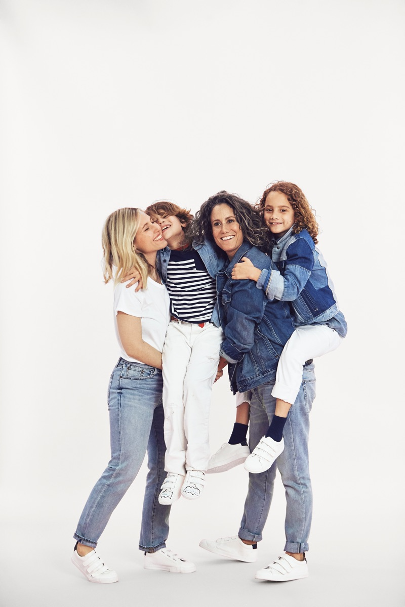 Ali Bird and wife Cass Bird pose with daughter Mae and son Leo for Gap 'Mama Said' campaign