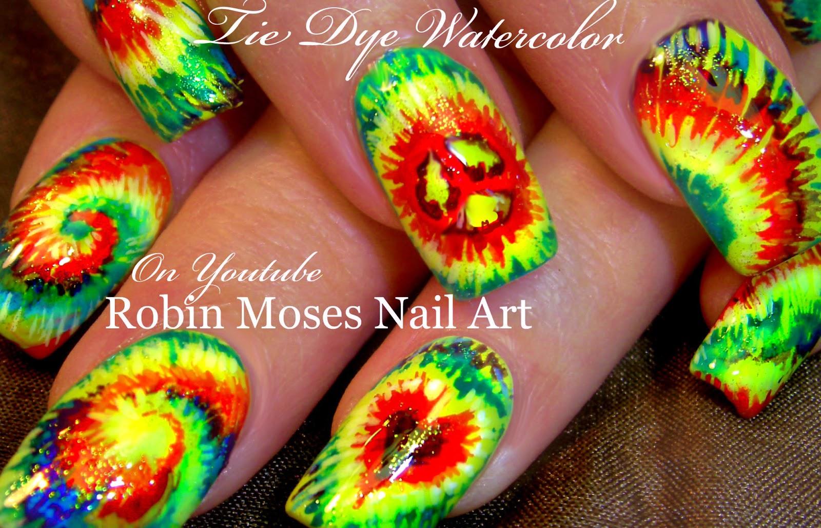 Nail Art By Robin Moses Tie Dye Nail Art Tie Dye Nails