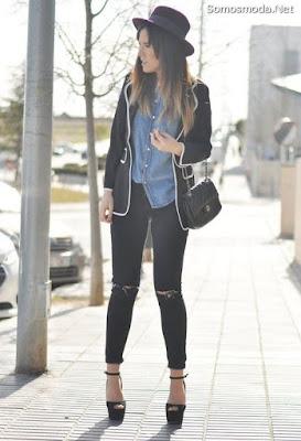 Pantalones rotos de moda