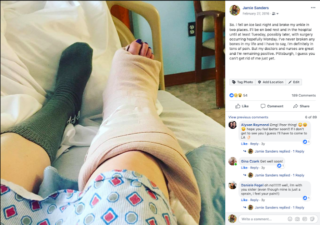 Jamie Allison Sanders, ankle break, broken ankle, Beautifying the Broken Ankle,