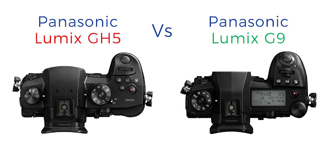 Top panel comparison of the Lumix GH5 and G9