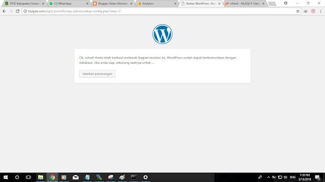 Kelas Informatika - Install Wordpress Berhasil