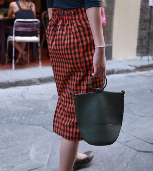 High Semi-Garterized Waist Gingham Pencil Skirt