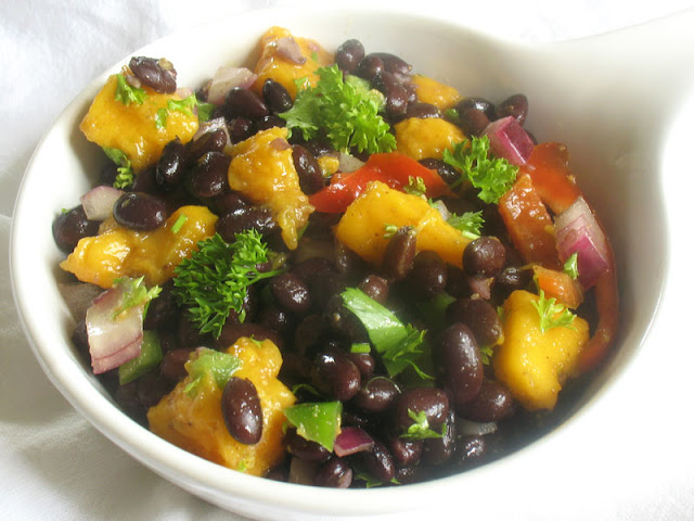 Black Bean Salad with Fresh Mango with Chaat Masala Dressing