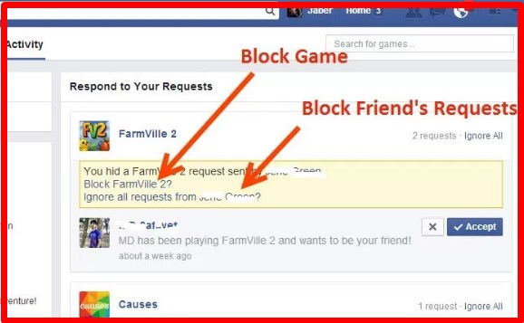 how to stop game requests on facebook android app